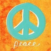 Blue And Orange Prints - Peace Print by Linda Woods