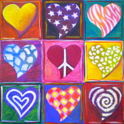 Signs Mixed Media Prints - Peace Love and Heart Art Print by Debi Pople