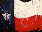 Fireworks Paintings - Peace Love and Texas by Debi Pople