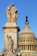 U.s. Capitol Dome Prints - Peace Monument and Capitol Print by John Greim