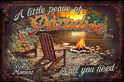 Adirondack Chair Framed Prints - Peace of Paradise Framed Print by JQ Licensing