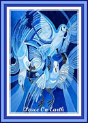 Peace Doves Paintings - Peace On Earth Greetings With Doves  by Tracey Harrington-Simpson