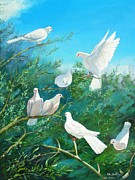 Peace Doves Paintings - Peace on Earth by Peter Jean Caley