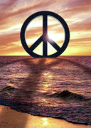 Unity Digital Art Posters - Peace on the Shoreline Poster by Cristophers Dream Artistry