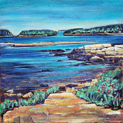 Maine Shore Drawings Prints - Peace - Seascape Print by Grace Liberator