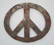 Hippie Sculpture Posters - Peace Sign from Pieces recylced metal wall sculpture Poster by Robert Blackwell