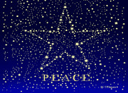 Constellation Digital Art - Peace Star Christmas card by Maureen Tillman