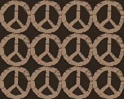 Seventies Posters - Peace Symbol Collage Poster by Michelle Calkins
