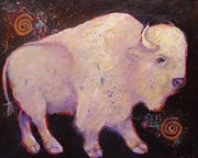 Buffalo Metal Prints - Peace White Buffalo Metal Print by Carol Suzanne Niebuhr