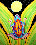 Full Moon Drawings - Peacefrog Full Moon by Nick Gustafson