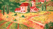 Farm House Mixed Media Posters - Peaceful and Colorful Tuscany Valley Scene Poster by Anne-Elizabeth Whiteway