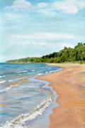 Picturesque Painting Posters - Peaceful Beach at Pier Cove Poster by Michelle Calkins