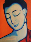 Third Eye Framed Prints - Peaceful Buddha Framed Print by Rebecca Mott
