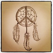 Dreamcatcher Drawings - Peaceful Dreaming by Joshua Davis