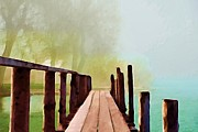 Impressionistic Oil Digital Art - Peaceful Foggy Day by Liane Wright
