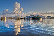 Jupiter Inlet Posters - Peaceful Harbor Poster by Debra and Dave Vanderlaan