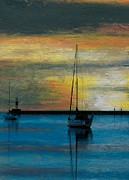 Wax Pastels Posters - Peaceful Mooring Poster by R Kyllo