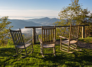Rocking Chairs Framed Prints - Peaceful Pisgah Morning Framed Print by John Haldane