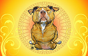 Canine Caricatures By John LaFree - Peaceful Pit Bull