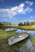 Canoe Metal Prints - Peaceful Prairie Metal Print by Debra and Dave Vanderlaan