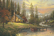 Mountain Cabin Painting Framed Prints - Peaceful Retreat Framed Print by Thomas Kinkade