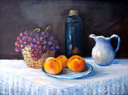 Steal Prints Prints - Peaceful still life of fruits Print by  Luczay