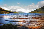 Bank; Clouds; Hills  Prints - Peaceful Sunny Waves of Loch Lomond. Scotland Print by Jenny Rainbow