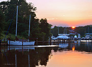 Docked Sailboats Posters - Peaceful Sunset Poster by Brian Wallace