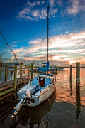 Piers Prints - Peaceful Sunset Print by Debra and Dave Vanderlaan