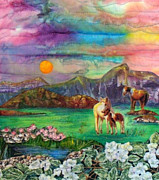 Horses Tapestries - Textiles - Peaceful Sunset by Maureen Wartski