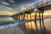 Florida Bridges Prints - Peaceful Surf Print by Debra and Dave Vanderlaan
