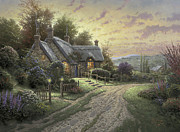 Mountain Cabin Painting Framed Prints - Peaceful Time Framed Print by Thomas Kinkade