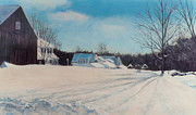 New England Village  Paintings - Peaceful Village by Nan McCarthy