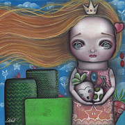 Pop Surrealism Paintings - Peach by  Abril Andrade Griffith