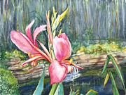 Canna Mixed Media Prints - Peach Canna by the Pond Print by Patricia Allingham Carlson