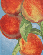 Peaches Painting Prints - Peach Pizazz Print by Debora Baxter Jackson