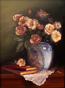 Peach Originals - Peach Roses and Books by Viktoria K Majestic