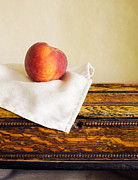 Napkin Framed Prints - Peach Still Life Framed Print by Edward Fielding