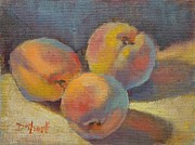 Donna Shortt Painting Posters - Peach Times Three Poster by Donna Shortt