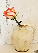 Pottery Pitcher Metal Prints - Peach Trim Rose in Pottery Metal Print by Marsha Heiken