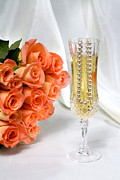 Champagne Glasses Framed Prints - Peach wedding Framed Print by Joe Belanger