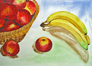 Food And Beverage Painting Originals - Peaches and Bananas by Shakhenabat Kasana