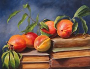 Peaches Prints - Peaches and Books Print by John Schisler