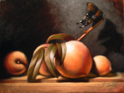 Peaches Painting Metal Prints - Peaches and Butterfly Metal Print by Timothy Jones