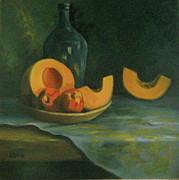 Sliced Originals - Peaches and Cantalope by Mary Ann Liscio