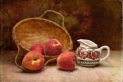 Fruit Basket Framed Prints - Peaches and Cream Still Life II Framed Print by Tom Mc Nemar