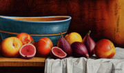 Peach Painting Posters - Peaches and Figs Poster by Horacio Cardozo
