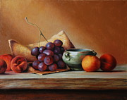 Organic Forms Paintings - Peaches and Grape by Dan Petrov