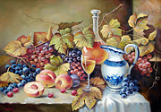 Grape Leaf Framed Prints - Peaches and grapes Framed Print by Dmitry Spiros