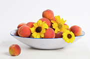 Bowl Of Peaches Posters - Peaches and Sunflowers Poster by Diane Macdonald